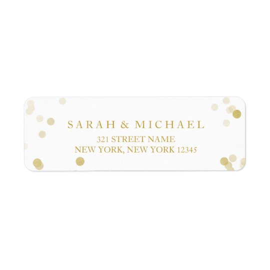 Faux Gold Foil Confetti Personalised Return Address Label