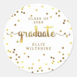 Faux Gold Foil Confetti Personalized Graduation Round Sticker