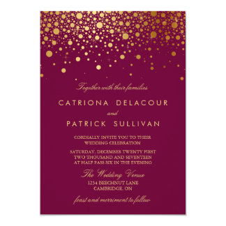 Faux Gold Foil Confetti Poppy Wedding Invitation