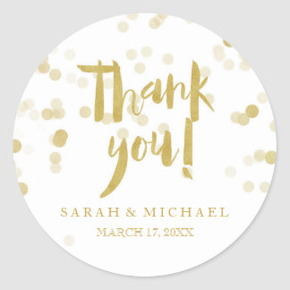 Faux Gold Foil Confetti Thank You Classic Round Sticker