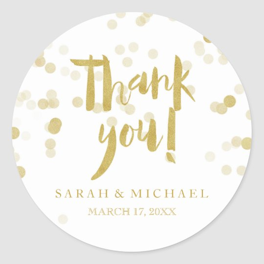 Faux Gold Foil Confetti Thank You Classic Round