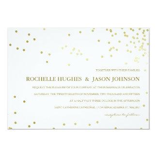 Faux Gold Foil Confetti Wedding Announcement