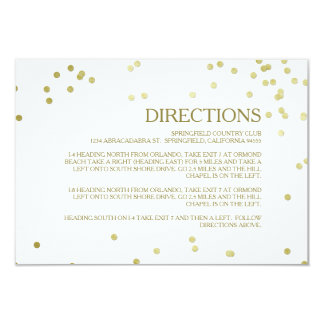 Faux Gold Foil Confetti Wedding Directions Insert Card
