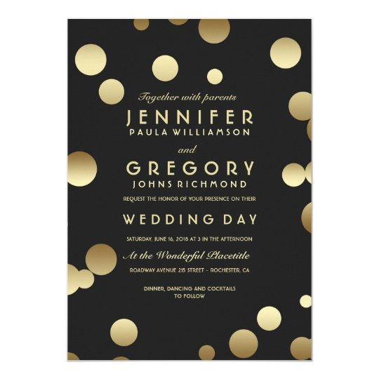 Faux Gold Foil Confetti Wedding Invitations