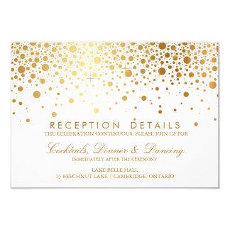 Faux Gold Foil Confetti Wedding Reception Card Announcement