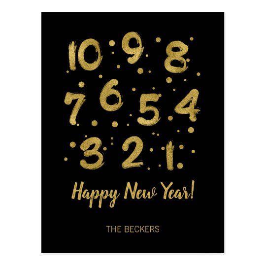 Faux Gold Foil Countdown New Year's Postcard