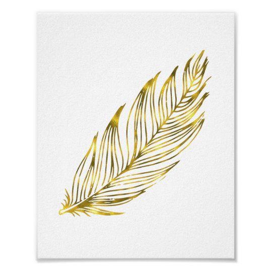 Faux Gold Foil Feather | Art Print