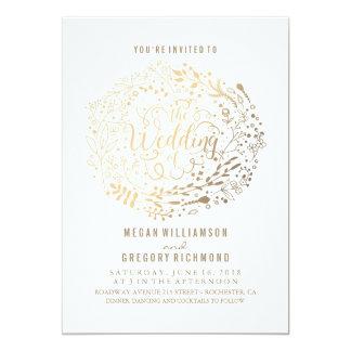 Faux Gold Foil Floral Bouquet Wedding Card