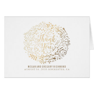Faux Gold Foil Floral Bouquet Wedding Thank You Card