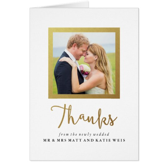 Faux Gold Foil Frame Wedding Thank You Card
