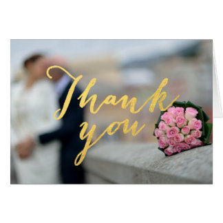 Faux Gold Foil Glamor Wedding Photo Thank You Card