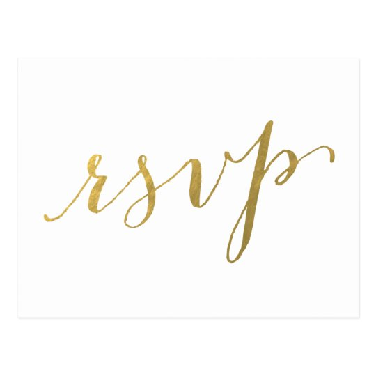 Faux Gold Foil Glamour | Wedding RSVP Postcard