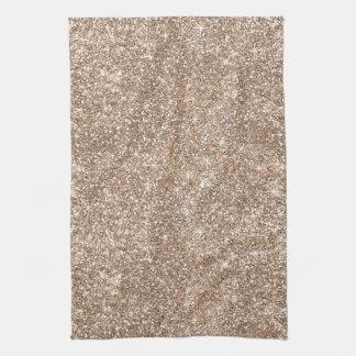 Faux Gold Foil Glitter Background Sparkle Template Tea Towel
