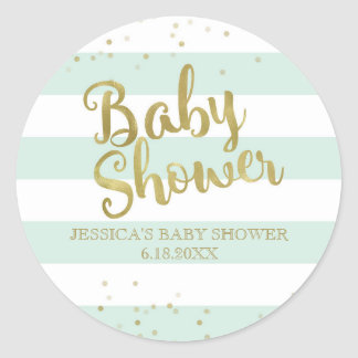 Faux Gold Foil Green Stripes Baby Shower Favor Classic Round Sticker