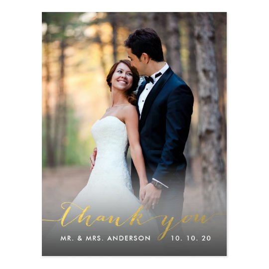 Faux Gold Foil Handwriting Wedding Thank You Postcard