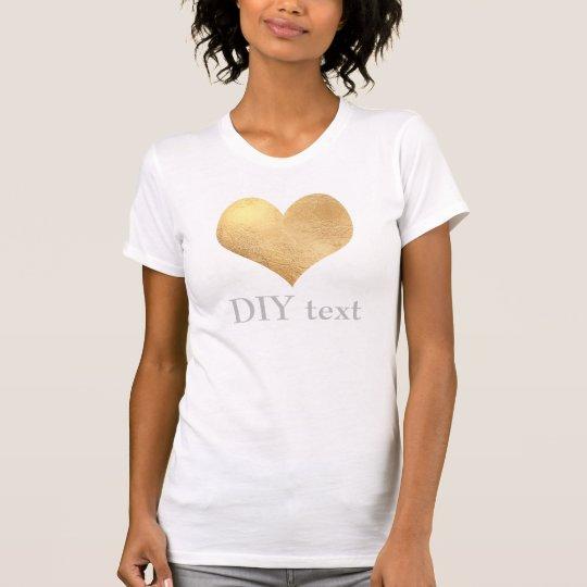Faux Gold Foil, Heart T-Shirt