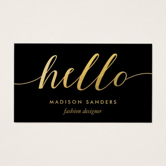 Faux Gold Foil Hello Typography Classic Black Business