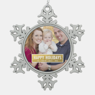 FAUX GOLD FOIL HOLIDAY PHOTO ORNAMENT