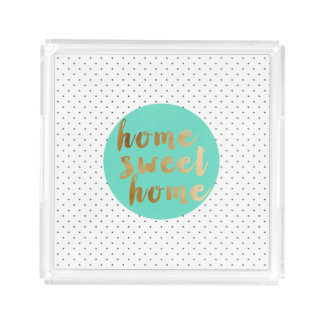 faux gold foil Home Sweet Home polka dots pattern Acrylic Tray