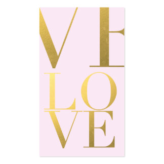 Faux Gold Foil Love Pink Pack Of Standard Business Cards