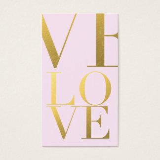 Faux Gold Foil Love Pink Business Card