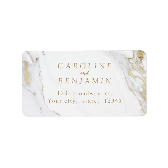 Faux gold foil marble luxury modern address label