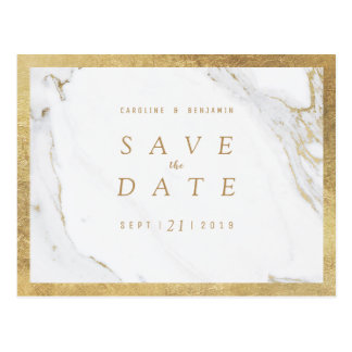 Faux gold foil marble luxury modern save the date postcard