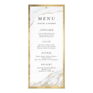 Faux gold foil marble luxury modern wedding menu card