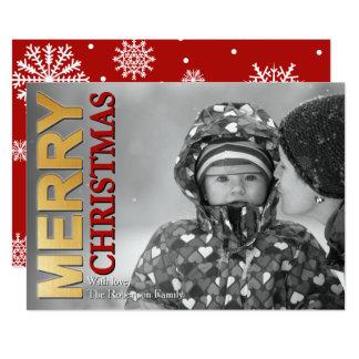 Faux Gold Foil Merry Christmas Photo Card 13 Cm X 18 Cm Invitation Card