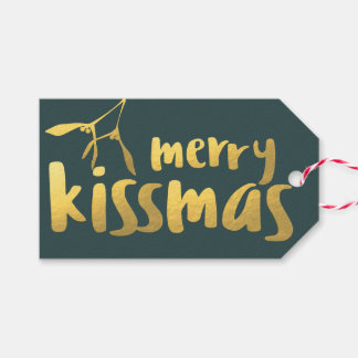 Faux Gold Foil Merry Kissmas Christmas Gift Tag