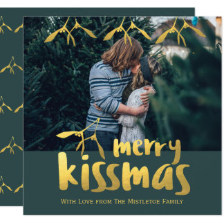 Faux Gold Foil Merry Kissmas Engagement Photo Card
