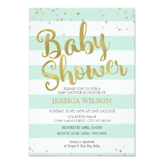 Faux Gold Foil, Mint Green Stripes Baby Shower Card