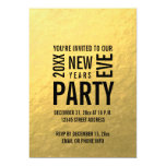 Faux Gold Foil Modern New Years Eve Party Invite