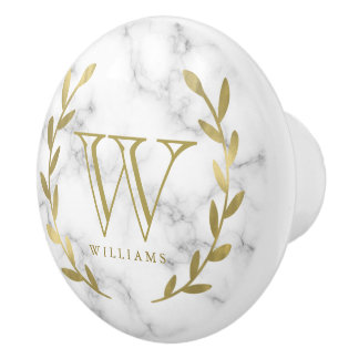 Faux Gold Foil Monogram on Marble Texture Ceramic Knob