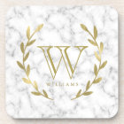 Faux Gold Foil Monogram on Marble Texture Coaster