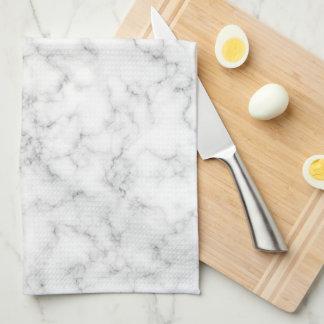 Faux Gold Foil Monogram on Marble Texture Tea Towel