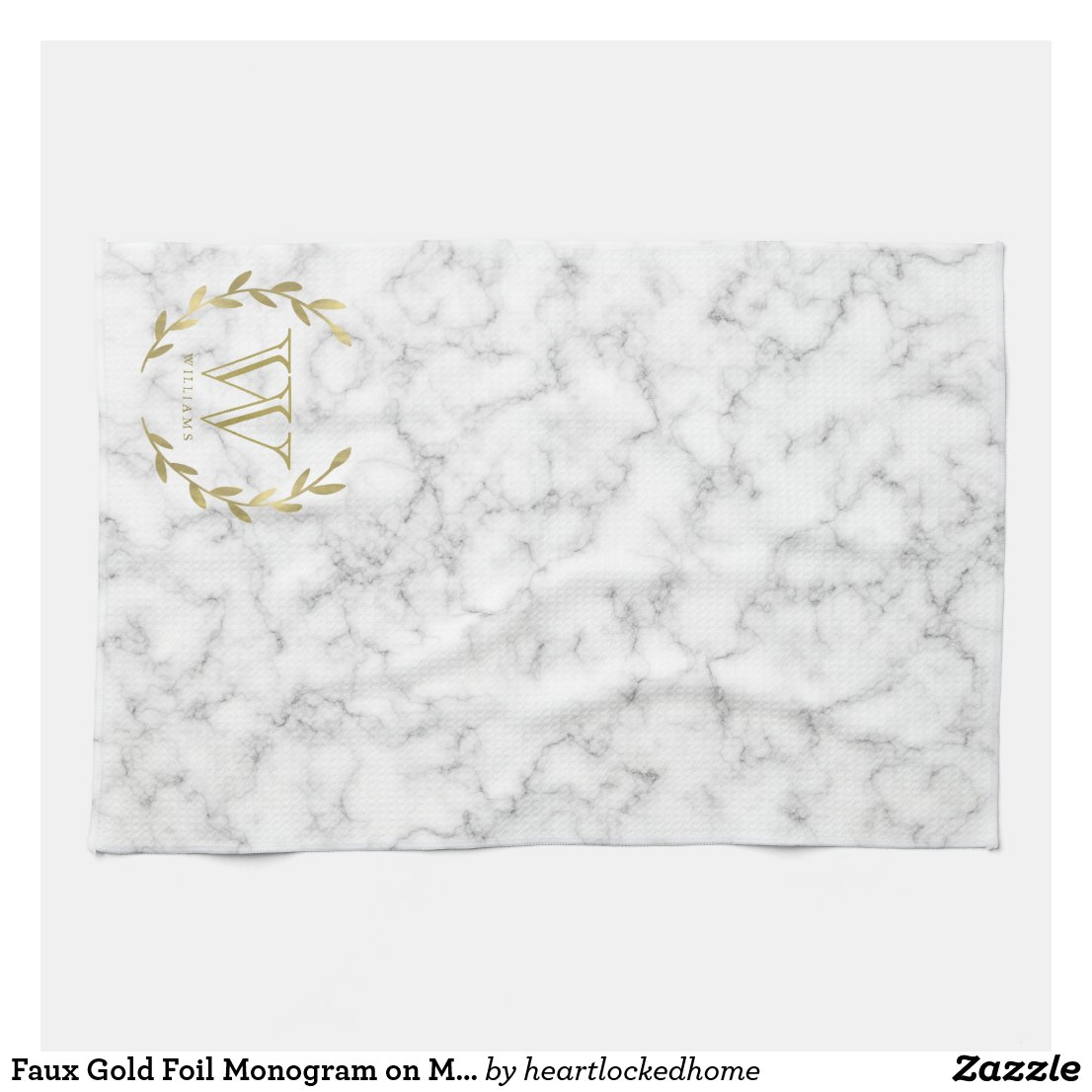 Faux Gold Foil Monogram on Marble Texture Tea Towel