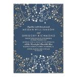 Faux Gold Foil Navy Baby's Breath Wedding 13 Cm X 18 Cm Invitation Card