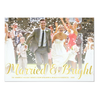 Faux Gold Foil | Newlyweds Holiday Photo Card 13 Cm X 18 Cm Invitation Card