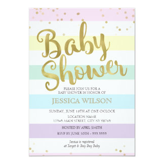 Faux Gold Foil, Pastel Rainbow Stripes Baby Shower Card