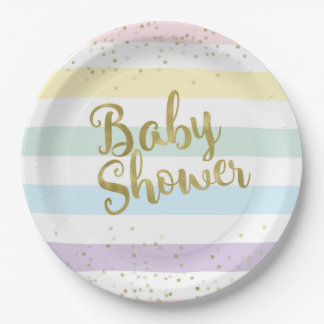 Faux Gold Foil, Pastel Rainbow Stripes Baby Shower Paper Plate