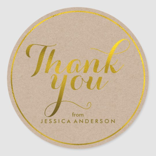 Faux Gold Foil Personalised Thank You Classic Round