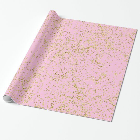 Faux Gold Foil Pink Background Sprinkle Glitter Wrapping