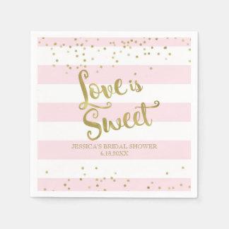 Faux Gold Foil Pink Stripes Love is Sweet Shower Disposable Serviette