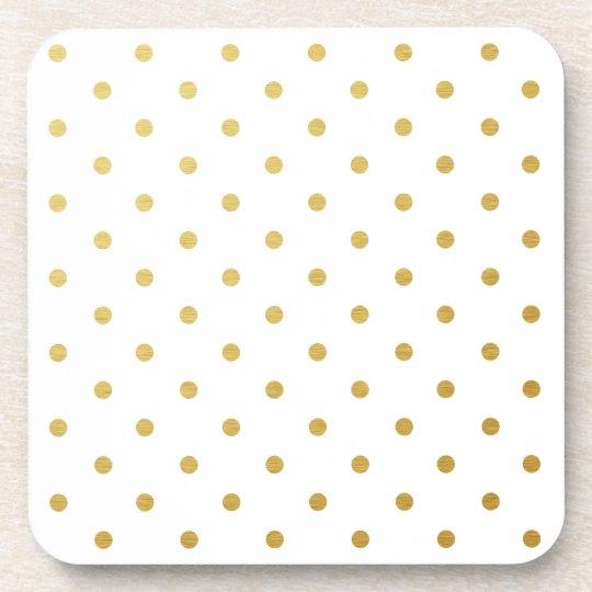 Faux Gold Foil Polka Dots Modern White Coaster