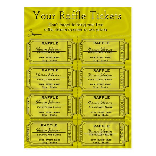 Faux Gold Foil Raffle Tickets Postcard