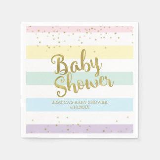 Faux Gold Foil Rainbow Stripes Baby Shower Disposable Serviettes