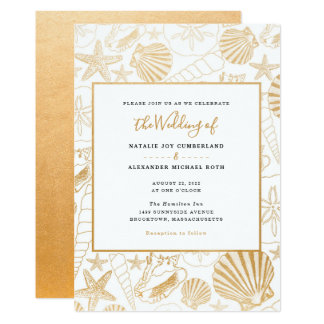 Faux gold foil sea shell wedding, beach theme card