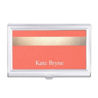 Faux Gold Foil Stripe Classic Orange Coral Name Business Card Holder