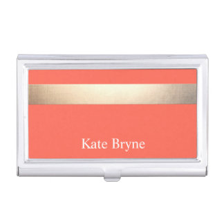 Faux Gold Foil Stripe Classic Orange Coral Name Case For Business Cards